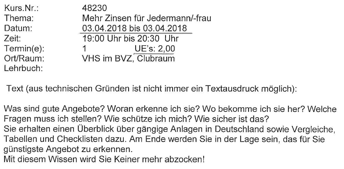 VHS Kurs 03.04.2018 - Mehr Zinsen für Jedermann/-frau
