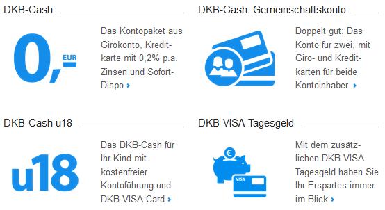 Übersicht Kontotypen DKB