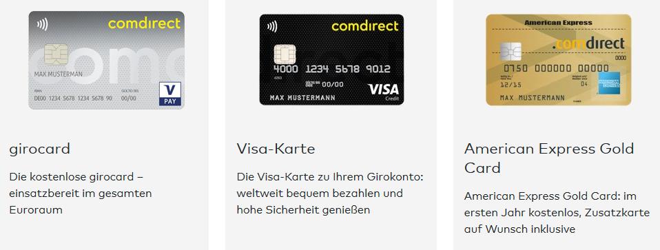 Kartentypen comdirect