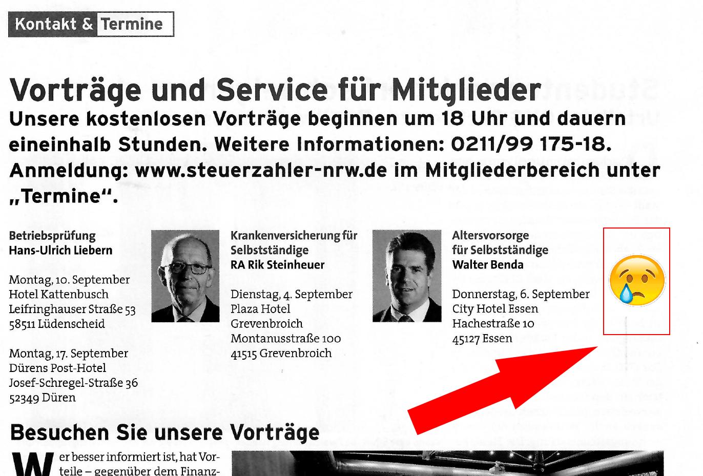 2018-07 Magazin Bund der Steuerzahler - Seminareinladung Walter Benda ohne Bild