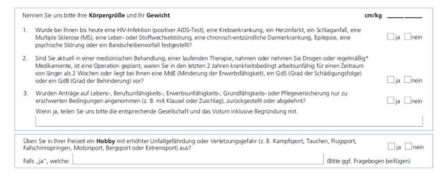 Volkswohl Bund - Vereinfachte Gesundheitsfragen zur BU
