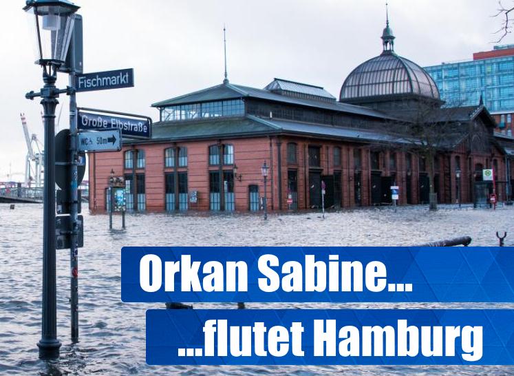Orkan Sabine flutet Hamburg