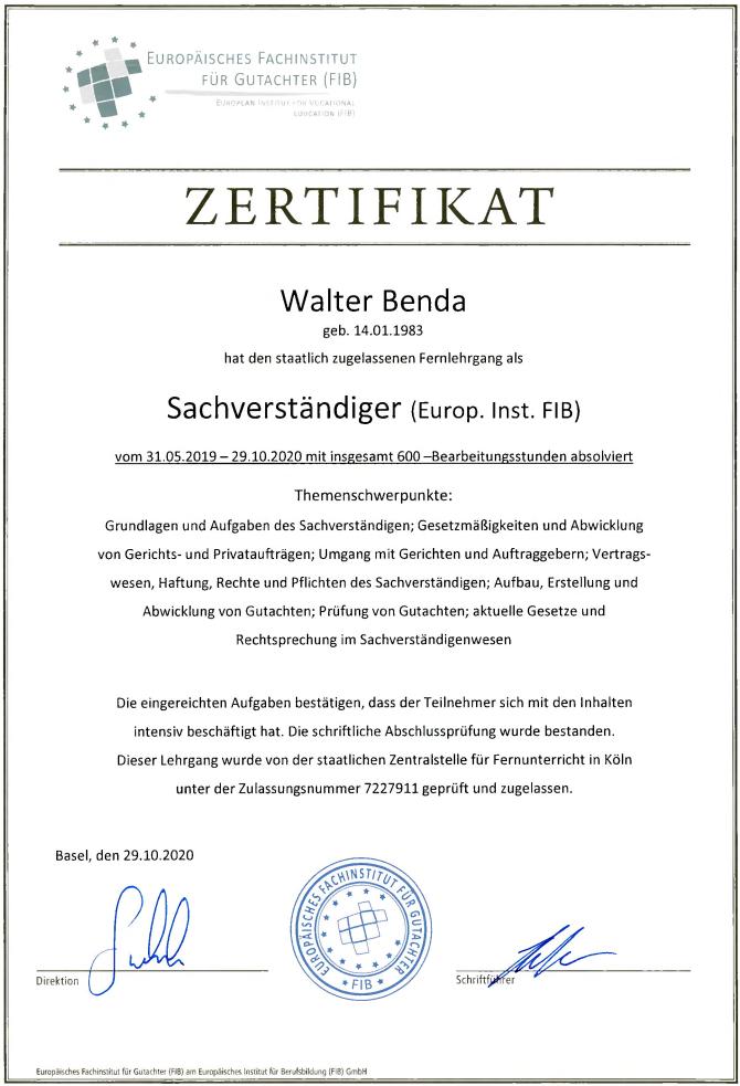 600h Re-Zertifizierung Sachverständiger