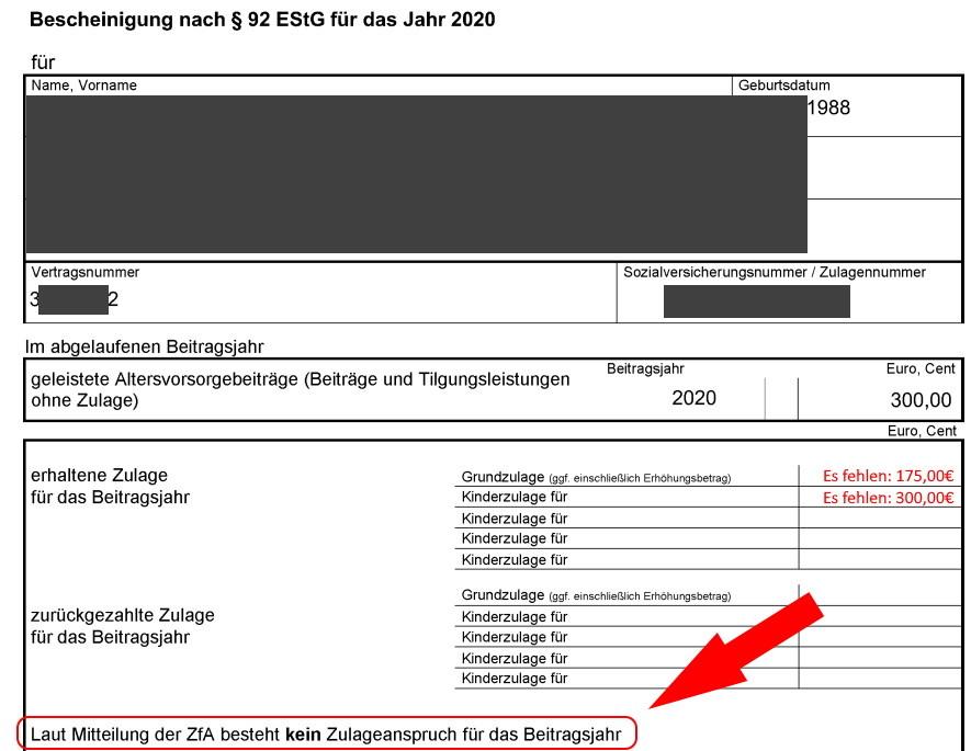 Riester-Fehler Zulage Volkswohl Bund